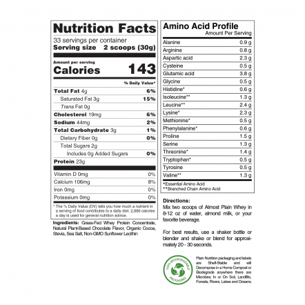 Chocolate Grass-Fed Whey Protein Powder Nutrition Facts