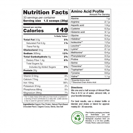 Chocolate Pea Protein Powder Nutrition Facts