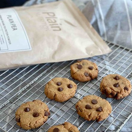 Flourless Peanut Butter Chocolate Chip Cookies Made With Organic Pea Protein Powder