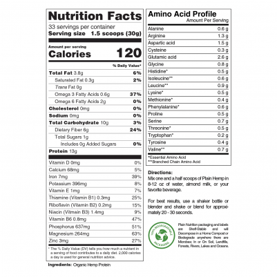 Organic Hemp Protein Powder Nutrition Facts