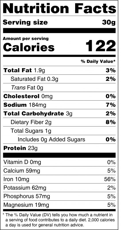 Plain Nutrition Organic Pea Protein Nutrition Facts Panel
