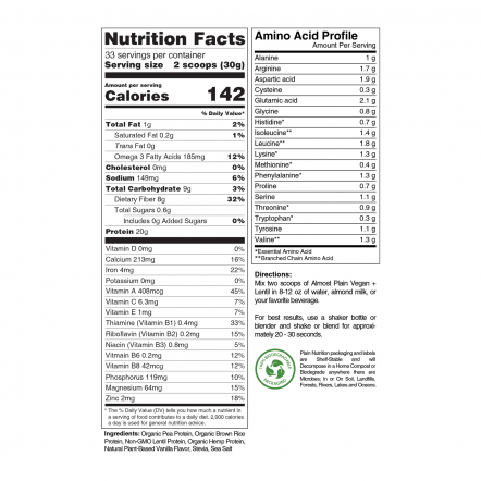 Premium Vanilla Vegan Protein Powder Blend Nutrition Facts