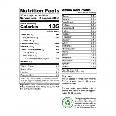 Vanilla Grass-Fed Whey Protein Powder Nutrition Facts