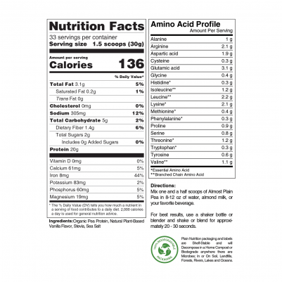 Vanilla Pea Protein Powder Nutrition Facts